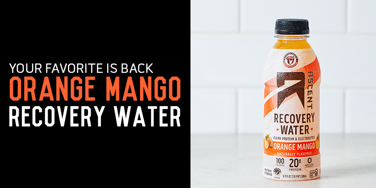 Orange Mango Recovery Water is Back at Ascent